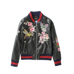 Wholesale Leather Bomber Jacket Women - Wholesale- Winter flower bees butterfly embroidery PU leather jacket women 2016 fashion print slim baesball basic coat casual bomber jacket