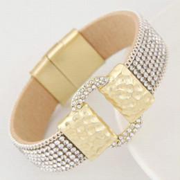 Wholesale Belt Buckle Bracelet Beads - LEMOER Hot Sparkling Full Rhinestone Belt Buckle Wide Magnetic Leather bracelets & bangles Women Statement Pulsera Mujer Bijoux