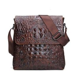 Wholesale Pocket Tablet - 2017 Genuine Leather Men Bag For Mele Crocodile Style Men's Business Messenger Bag Tablet PC Handbag For High Quality