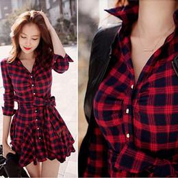 Wholesale Dresses Dentelle - Vestido Dress Spring Autumn Women Long Sleeve Korean Party Dresses Red Black Grid Mini Dress Robe Dentelle DM#6