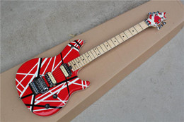 Wholesale Black Red Guitar - Electric Guitar with Black and White Stripes on Red Body,Maple Fretboard,Floyd Rose,Can be Customized