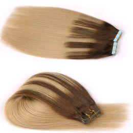 Wholesale Piece Dozen - 100% Russian Human Hair 2.5g piece 40 pieces set,5sets Dozen virgin Hair can dyed #613 adhesive Skin Weft PU Tape Hair Extension