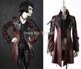 Wholesale Womens Leather Studded Jacket - Wholesale- Punk Rave Goth Womens Man-made Leather Rock studded Cotton Jacket Coat Streampunk HoodieLot S-3XL