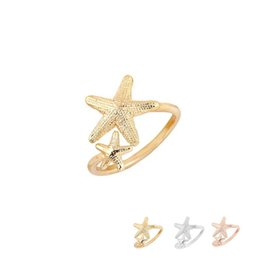 Wholesale Cheap Starfish - Cheap Price Fashion Adjustable Twinkle Stretch Star Ring Nautical Beach 2 Starfish Ring for Women Birthday Gifts EFR068
