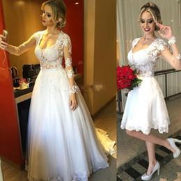 Wholesale two piece detachable wedding dresses - vestido de novia Two Pieces Long Sleeve Beach Wedding Dresses in One Detachable Bridal Gowns with Lace and Pearls Robe de Mariage 2017