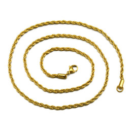 Wholesale Thick Steel Necklaces - 3mm Thick 60cm Long Stainless Steel Solid Rope Twisted Chain Gold Silver Plated Hip hop Twisted Chain Necklace For mens