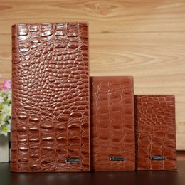 Wholesale Note Two - Crocodile Grain Men Long Wallets Brown Leather Embossed Short and Long Style Male Two Layer Folded Alligator Purse