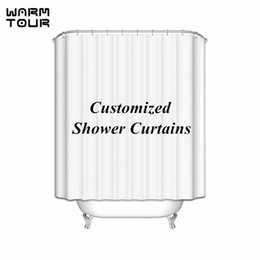 Wholesale Unique Bathrooms - Wholesale- WARM TOUR Customize Shower Curtain Unique Waterproof Fashion Shower Curtain Polyester Curtain Hotel Bathroom With Hooks Ring