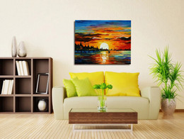 Wholesale Modern Textured Canvas Oil Painting - Seascape sailing 100% Hand Painted Red Palette Knife Painting Sunset Sailing High Quality Thick Textured Modern Paintings JL053