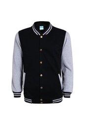 Wholesale School Jackets Wholesale - New High School Baseball Jacket Men Veste Homme 2017 Autumn Mens Fashion Slim Cotton Varsity Jackets Casual College Jacket 2pcs lot