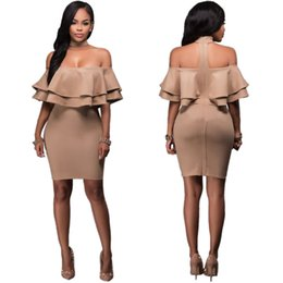 Wholesale Leather Splice Skirts - Standard Size Sexy Nightclub Mosaic Lotus Leaf Dress Woman Clothes Dress Africa 2017 Splicing, Halter Medium Skirt