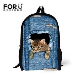 Wholesale Cute Cartoon Dog Backpack - Forudesigns Children School Bags For Teenage Girls Cute Denim Cat Dog Schoolbags Kids Bookbag 3d Cartoon Animal Backpack Mochila