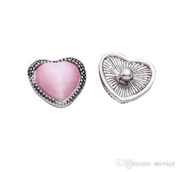 Wholesale Wholesale Heart Shaped Buttons - 30pcs lot pink heart shaped rhinestone silver plated 20mm snap Buttons for women jewelry 2017 Best Selling