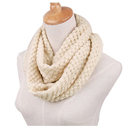 Wholesale Cheap Red Neck Scarves - 2016 New Fashion Women Winter Warm Knitted Neck Circle Wool Cowl Snood Long Scarf Shawl Solid Color Autumn Ring Scarf Cheap W2