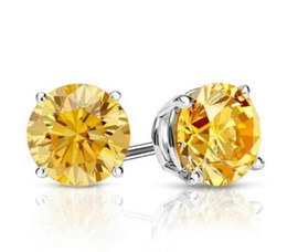 Wholesale Solid 14k Yellow Gold - 2 Ct Round Yellow Canary Earrings Studs Solid 14K White Gold Screw Back Basket