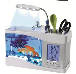Wholesale Desk Calendar Lamp - Wholesale- Desk Lamp Mini Fish Tank Desktop Electronic Aquarium USB Table Light with Water Running LED Pump Light Calendar Clock