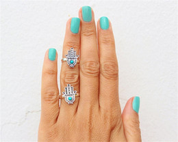 Wholesale 14k Gold Knuckle Ring - Vintage Charms Blue Acrylic Anti-Silver Plated Metal Fatima Hand Statement Midi Rings Knuckle Ring CR605