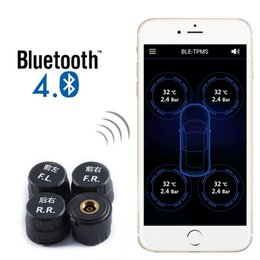 Wholesale External Tpms - Car Bluetooth 4.0 TPMS Tire Pressure Monitoring System With 4 External Sensors Alarm Warning For Iphone IOS Android Mobile Phone APP