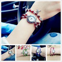 Wholesale Belt Buckle Bracelet Beads - 2017 Wholesale New girls retro watch glass beads bracelet watch jewelry watch multi color to choose CA025