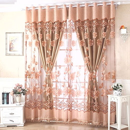 Wholesale European Curtain Rods - Luxury Floral Voile Window Living Room Tulle Window Curtains Kitchen Window Curtains Door Finished European Sheer Curtains