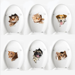 Wholesale Dog Decal Sticker Wholesale - 3D Cats Wall Sticker Toilet Stickers Hole View Vivid Dogs Bathroom Room Decoration Animal Vinyl Decals Art Sticker Wall Poster