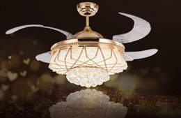 Wholesale Acrylic Crystal Ceiling Lamps - LED Modern Alloy Crystal Acrylic Ceiling Fan LED Lamp.LED Light.Ceiling Lights.LED Ceiling Light.Ceiling Lamp For Foyer Bedroom LLFA