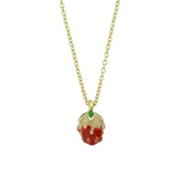 Wholesale Strawberry Necklace Charms - Minimalist Style Jewelry Gold-Color Long Chain With Strawberry Pattern Pendant Necklace For Women Accessories