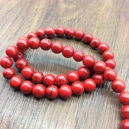 Deutschland 4-12mm Red Gem Naturstein Schmuck Erkenntnisse Howlith Abstandhalter Perlen lange Halskette endet Lariat Ohrringe Armband Bijoux Kit Versorgung