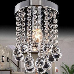 Wholesale Modern Crystal Ceiling - 15 20 25cm Crystal Chandelier Light Mini Ceiling Lamp Fixture Small Clear Crystal Lustre Lamp for Aisle Stair Hallway Corridor Porch Light
