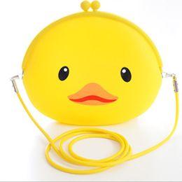 Wholesale Shoulder Bag Duck - Wholesale-Kawaii NEW Yellow Duck Silicone 20*18CM Lady Girl's Cartoon Satchel Shoulder BAG Pack Shoulder Messenger BAG Storage BAG