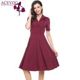 Wholesale Knee Length Swing Cocktail Dress - ACEVOG Women Summer High Waist Swing Dress Casual Shont Sleeve Solid V Neck Pullover High Waist Cocktail A-Line Dress 3 Colors