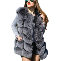Chalecos para mujeres zorro online-Faux Sliver Fox Fur Chaleco de Las Mujeres de Moda de Invierno Medio Largo Artifical Fox Fur Chalecos Mujer Cálido Falso Abrigos de Piel de Fox Femenino damas