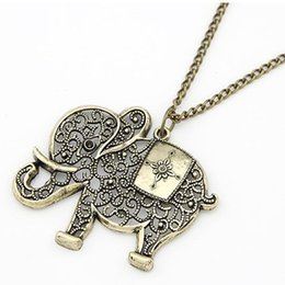 Wholesale Long Bronze Chain - 2017 New Europe And The United States Popular Hot Selling Fashion Ancient Bronze Hollow Elephant Long Necklace Men Women Jewelry Gifts