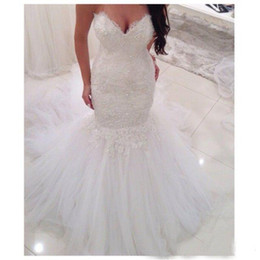 Wholesale Sweetheart Fit Flare Gowns - Tulle Appliques Lace Sexy V-neck Bridal Gowns Mermaid Style Fit And Flare Wedding Dresses Vestidos De Novia