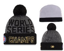 Wholesale Sports Caps Wholesale Price - wholesale price 2016 New Baseballl Champs Beanies Pom Knit Hats world Series Sports Cap Mix Order Chicago Champions Cubs men women Beanies