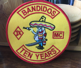 Wholesale Ha Shipping - Hot Sale Bandidos MC Biker Embroidered Iron On Patch Iron On Sew On Motorcyble Club Badge HA MC Biker Vest Patch Free Shipping