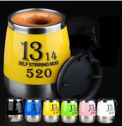 Wholesale automatic tea - Lazy Self Stirring Mug Automatic Electric Coffee Tea Mixing Cup Stainless Steel Love Cups Self Stirring For Tea Chocolate Cup KKA1875