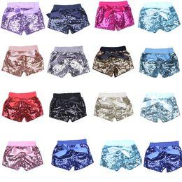 Wholesale Sequin Elastic Wholesale - 2017 kids shorts for girls sequins bow shorts toddler sequin shorts pants 14 colors C1853