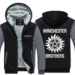 Wholesale Supernatural Tv Series - Wholesale- TV series Supernatural Hoodies men Winter Winchester Bros Fashion Zipper Thicken Fleece Jacket