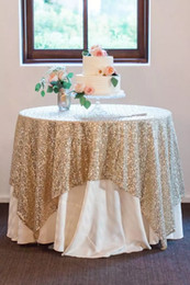 Wholesale Table Cloth Crochet - 2017 Bling Sequins Round Table Cloth Custom Size Evening Party Wedding Decorations Gold Silver Champagne Glitter Fabric Sequined Table Cloth