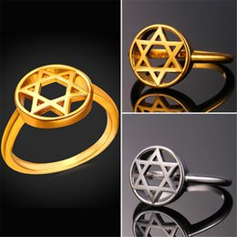 Wholesale Point Ring - U7 Band Ring Star of David Jewelry Israel Ring Party 18K Gold Platinum Plated Six-pointed Star Bands Rings For Women Perfect Gift R2340