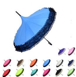 Wholesale Lace Parasol Umbrella Wholesale - Elegant Lace Pagoda Umbrella Lace Golf Umbrella Fancy sunny rainy Pagoda Umbrellas Lace Trim Windproof Long Handle Parasol 14 color KKA2119