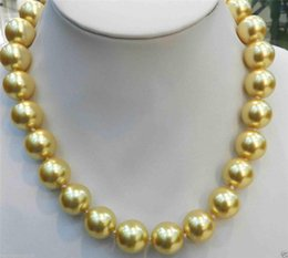 """Wholesale Face Shell - 16mm Golden South Sea Shell Pearl Necklace 18"""" AAA+"""