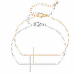 Wholesale Sideways Cross Chain Bracelet - Wholesale-1pcs Sideways Cross Bracelet Simple Jesus Piece Sideways Cross Bracelet For Women Pulseras Friendship Gift Idea