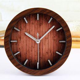 Wholesale Silent Alarm - Wholesale-European Retro Pastroalism Style Metal Sticks Desk Clock Wood Imitation Alarm Clock Silent Table Clock Home Decoration