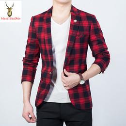 Wholesale Animal Blazer - Wholesale- Black and Red Checked Printed Jacket Blazer Men Slim Fit Plaid Mens Blazers Fashion 2017 New tartan Masculino Plus Size 5XL
