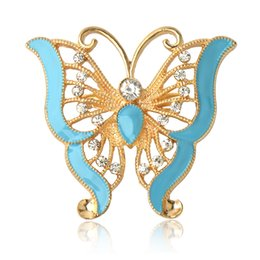 Wholesale Fashion Safety Pins - Wholesale- 2017 New Arrived Fashion Retro Gold Alloy rhinestone brooch Epoxy butterfly Shape Female Brooches for women safety pin jewelry