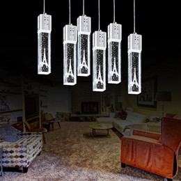 Wholesale Halogen Head Lights - Crystal Bubble Column Light Crystal Pendant Lamp Chandelier Ceiling Light Bar Dining Room tower inside white warm white light 1 3 6 heads