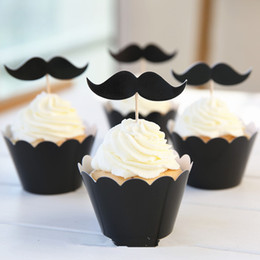 Wholesale Mustache Cups - Wholesale- 24pcs Lovely Black Cool Man Mustache Party Paper Cupcake Wrappers Toppers for Kids Birthday Party Decoration Cake Cups