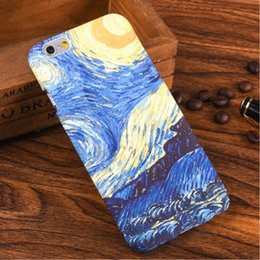Wholesale Van Gogh Starry Night Oil - High Quality Van Gogh Night Starry Sky Oil Painting case For iPhone 6 6S plus frosted Hard PC Phone Cases PH58B